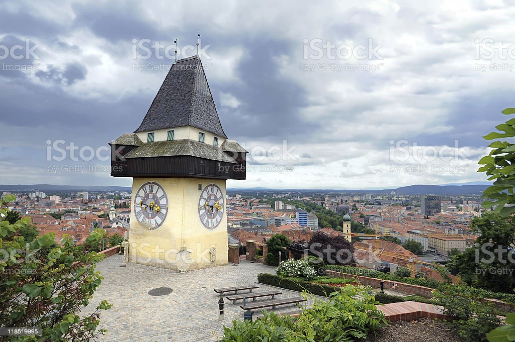 Old clock tower in Graz stock photo
