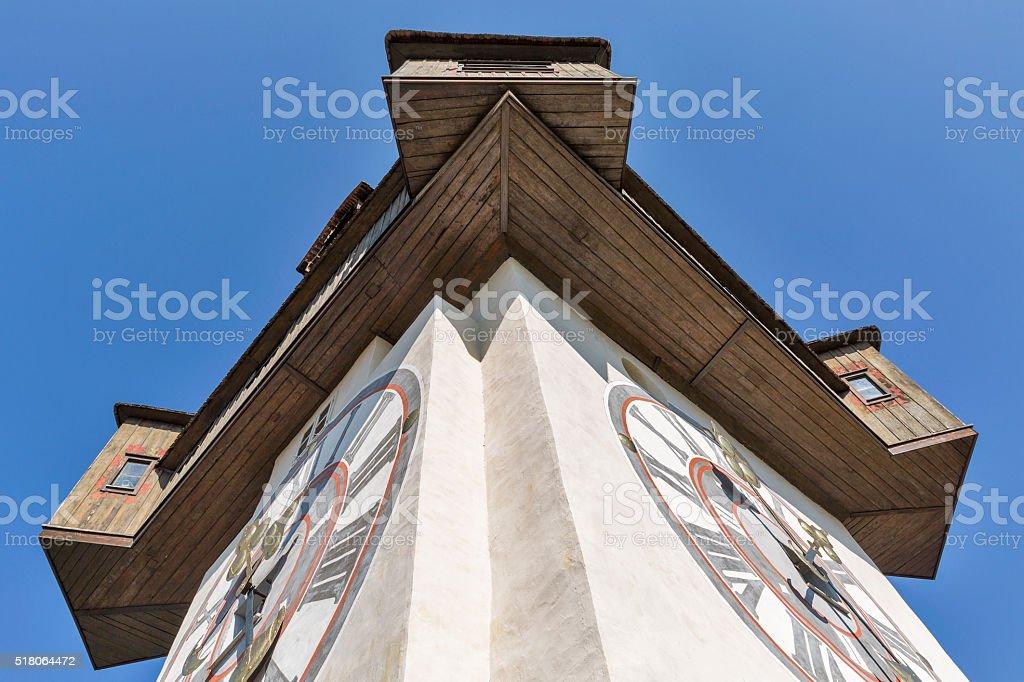 old clock tower Uhrturm closeup in Graz, Austria stock photo