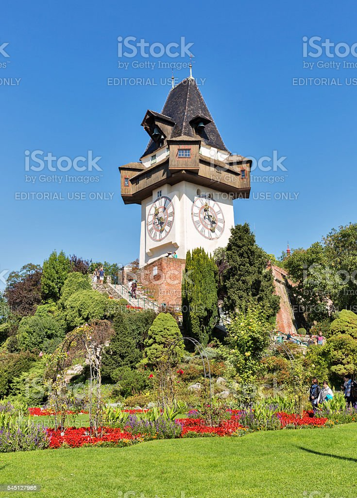Old clock tower Uhrturm in Schlossberg. Graz, Austria stock photo
