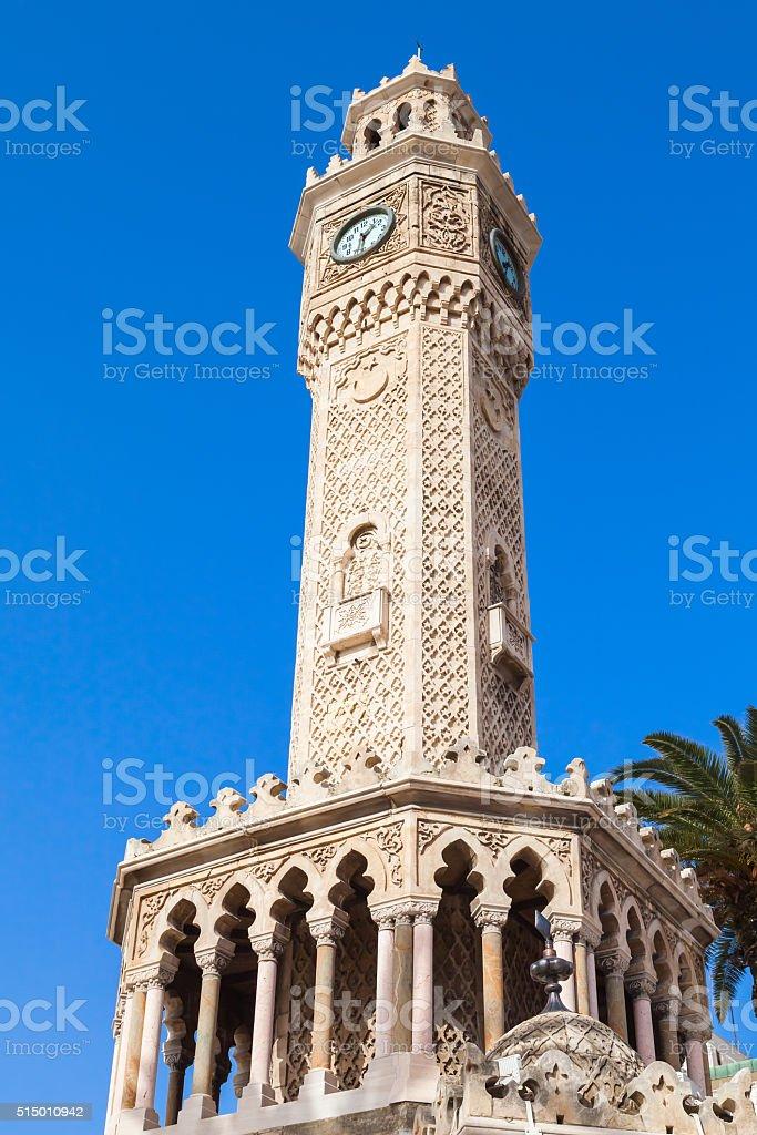 Old clock tower under blue sky, Izmir, Turkey stock photo