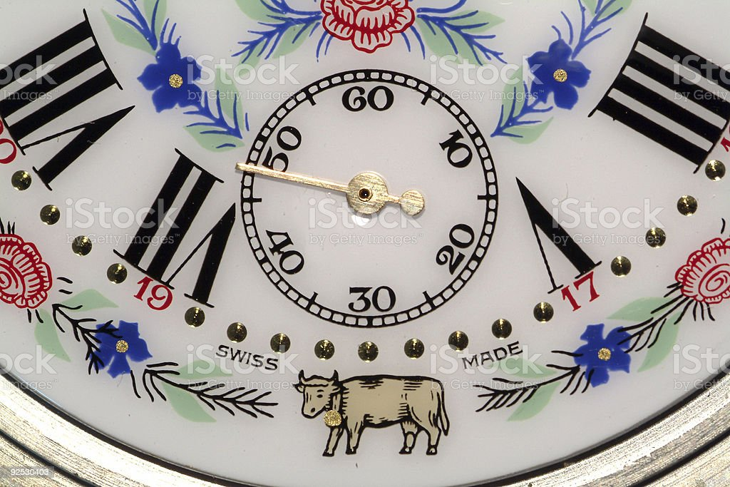 Old clock with rural scenes royalty-free stock photo