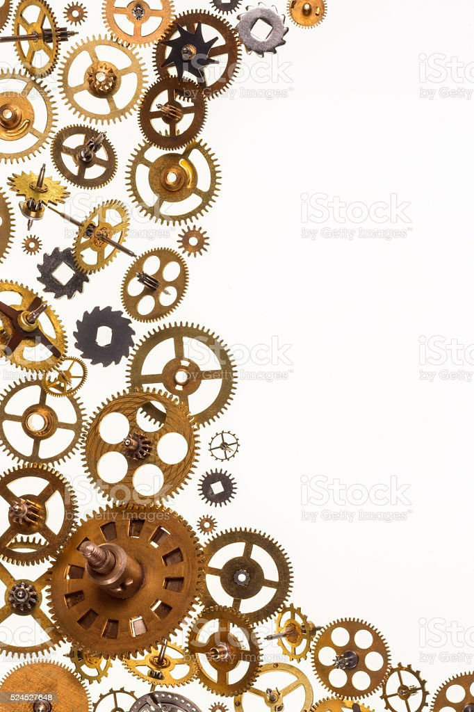 Old clockwork cogs and clock parts - Space for Text stock photo