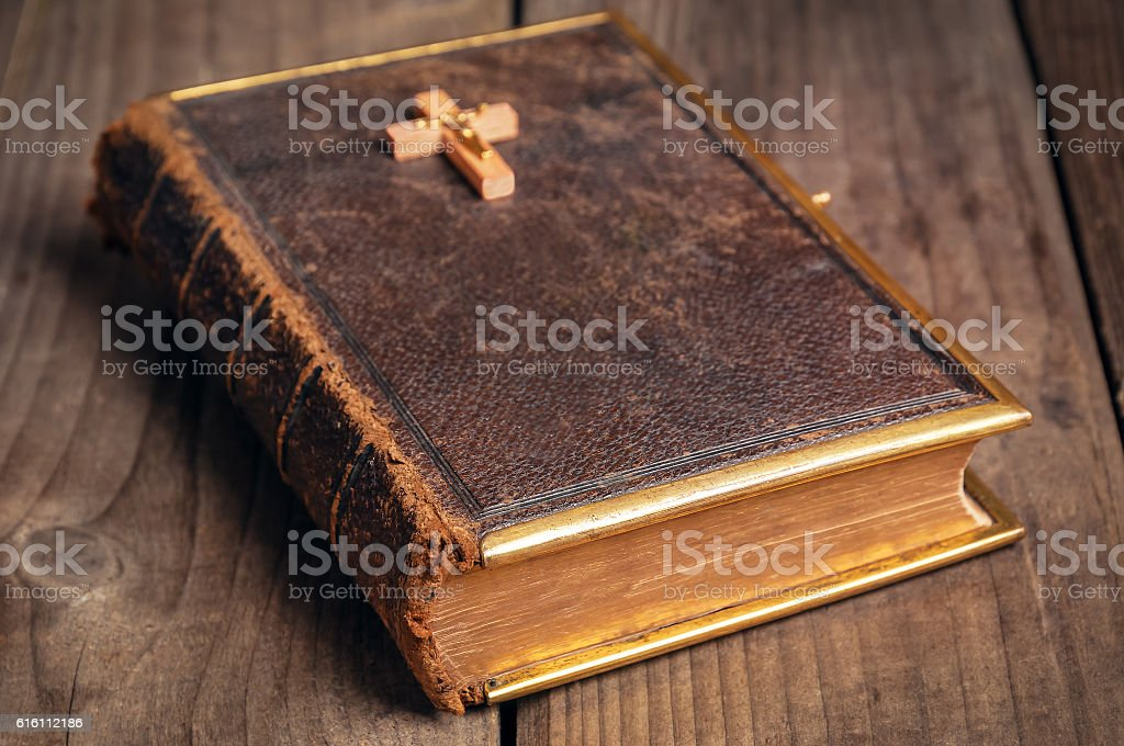old closed Bible stock photo