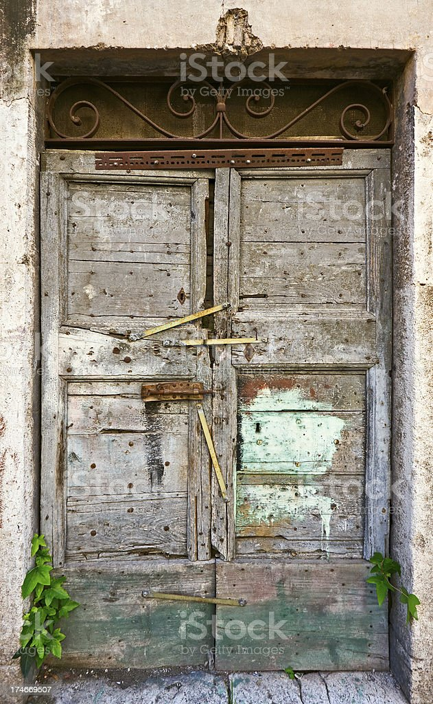 Old closed door royalty-free stock photo