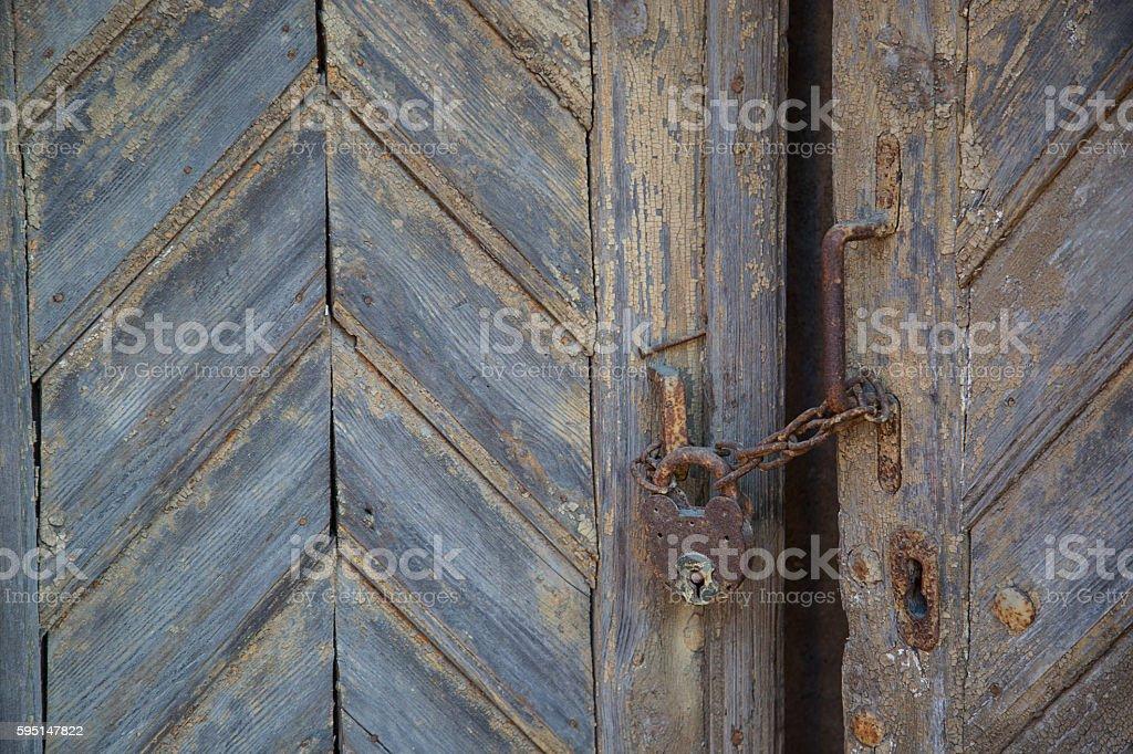 Old closed door stock photo