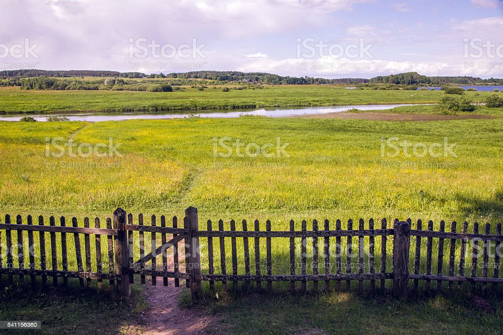 old closed wooden gate with a fence in summer Sunny stock photo