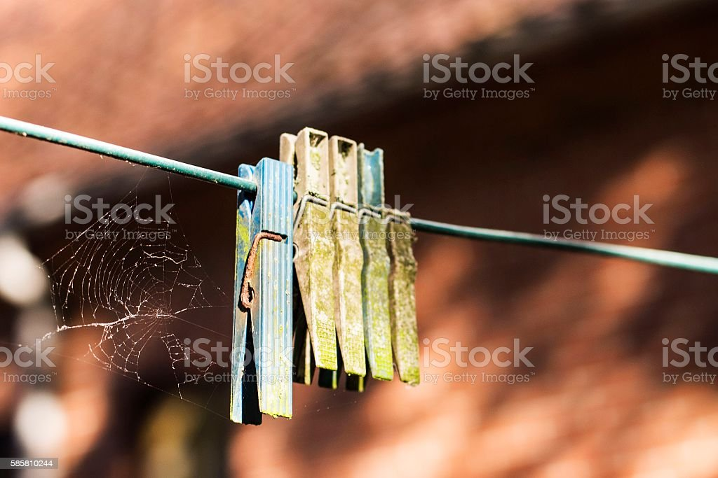 Old Clothespins stock photo