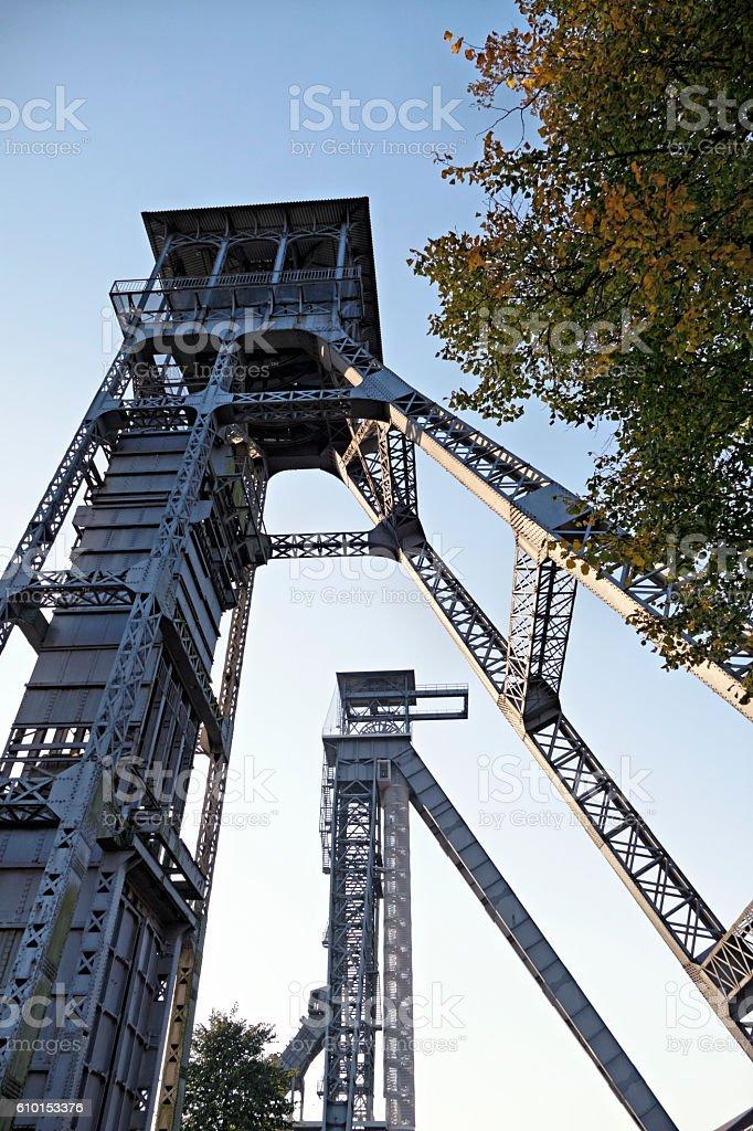 Old coal mine shafts in Genk,Belgium stock photo