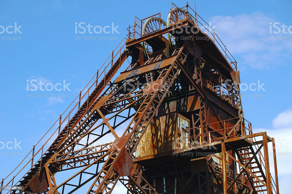 old coal mine tower stock photo