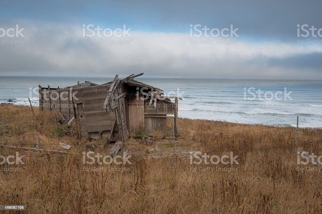 Old coastal house stock photo