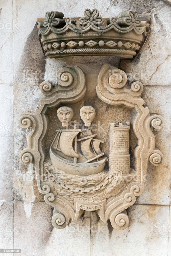 Old Coat of Arms of Santander Spain stock photo