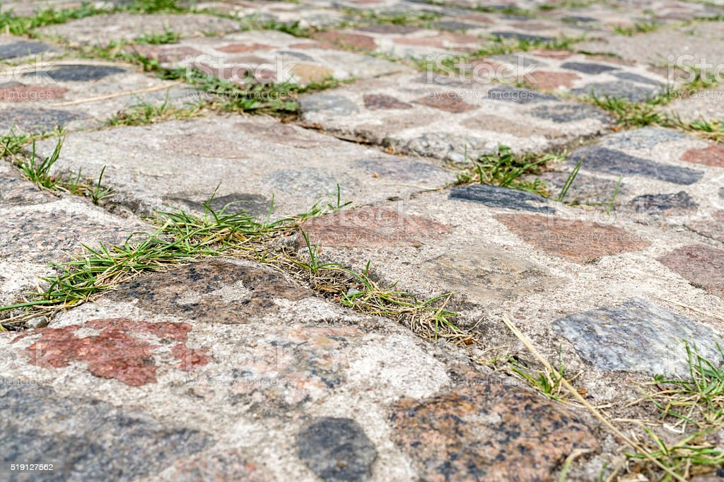 Old cobbled pavement stock photo