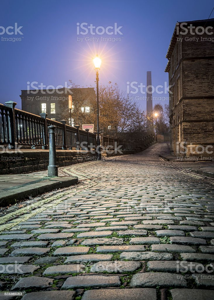 Old cobbled streets in Saltaire, Bradford stock photo