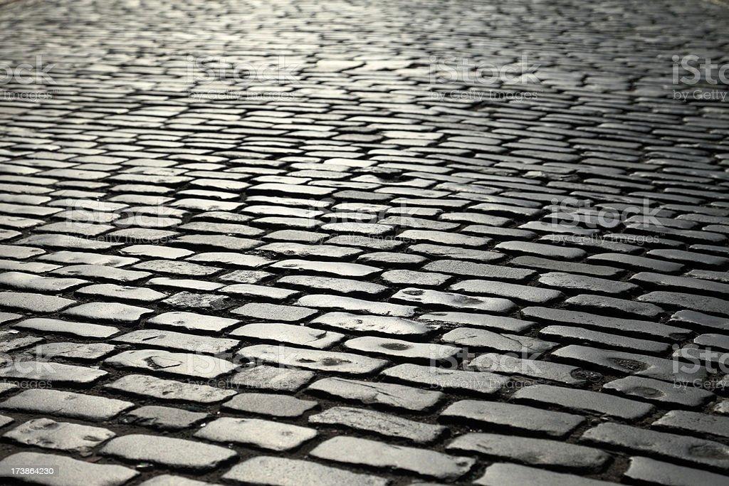 Old cobblestone road landscape royalty-free stock photo