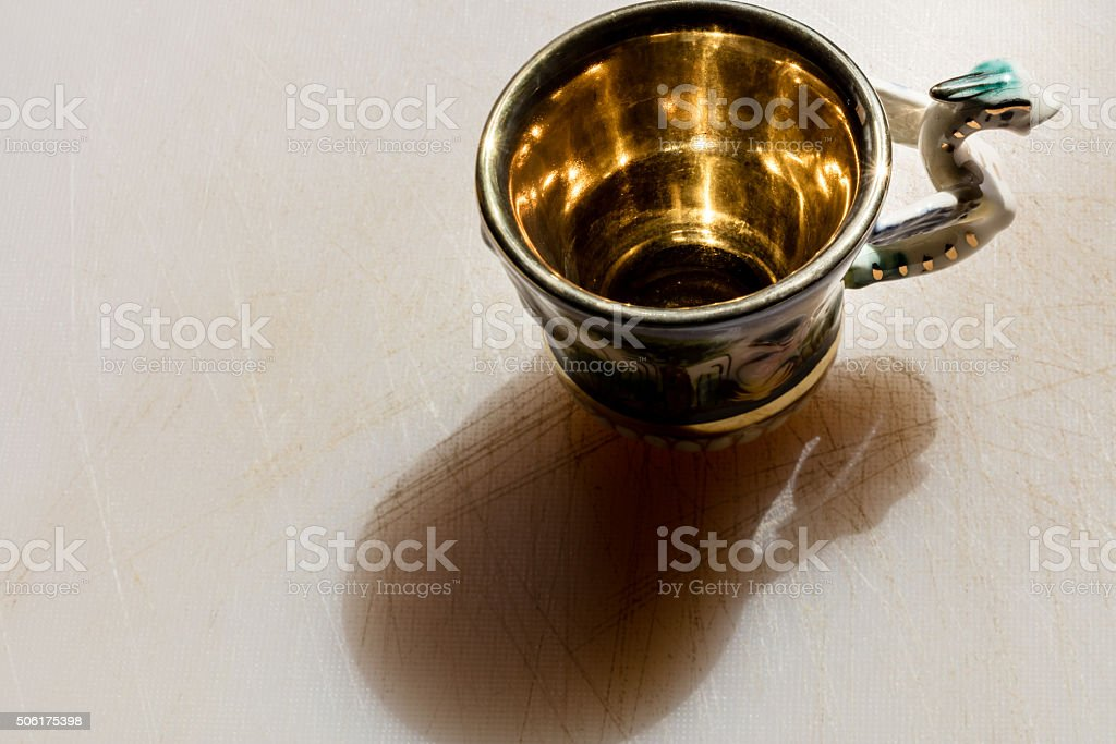 Old coffee cup stock photo