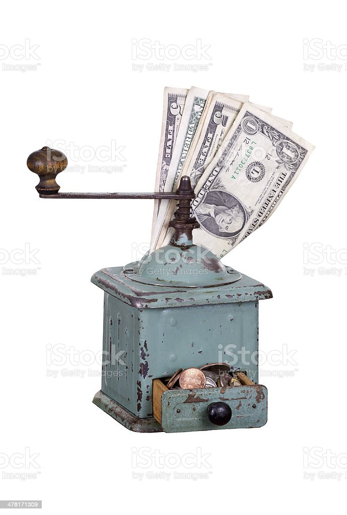 old coffee gringer with dollars stock photo