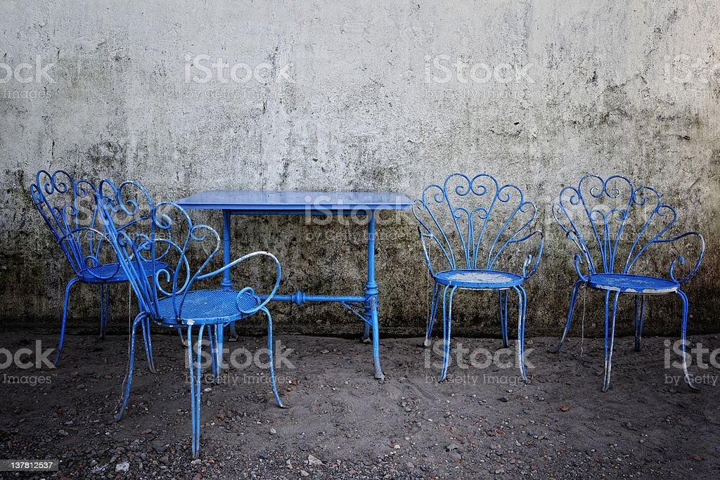 Old Coffee Table with Chairs. Color Image royalty-free stock photo