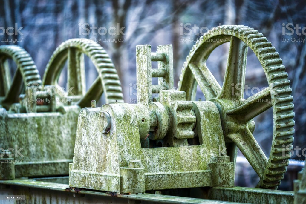 Old Cogwheels in the forest stock photo