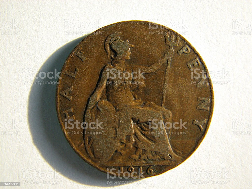 Old Coin - 1916 British 'Half Penny' stock photo