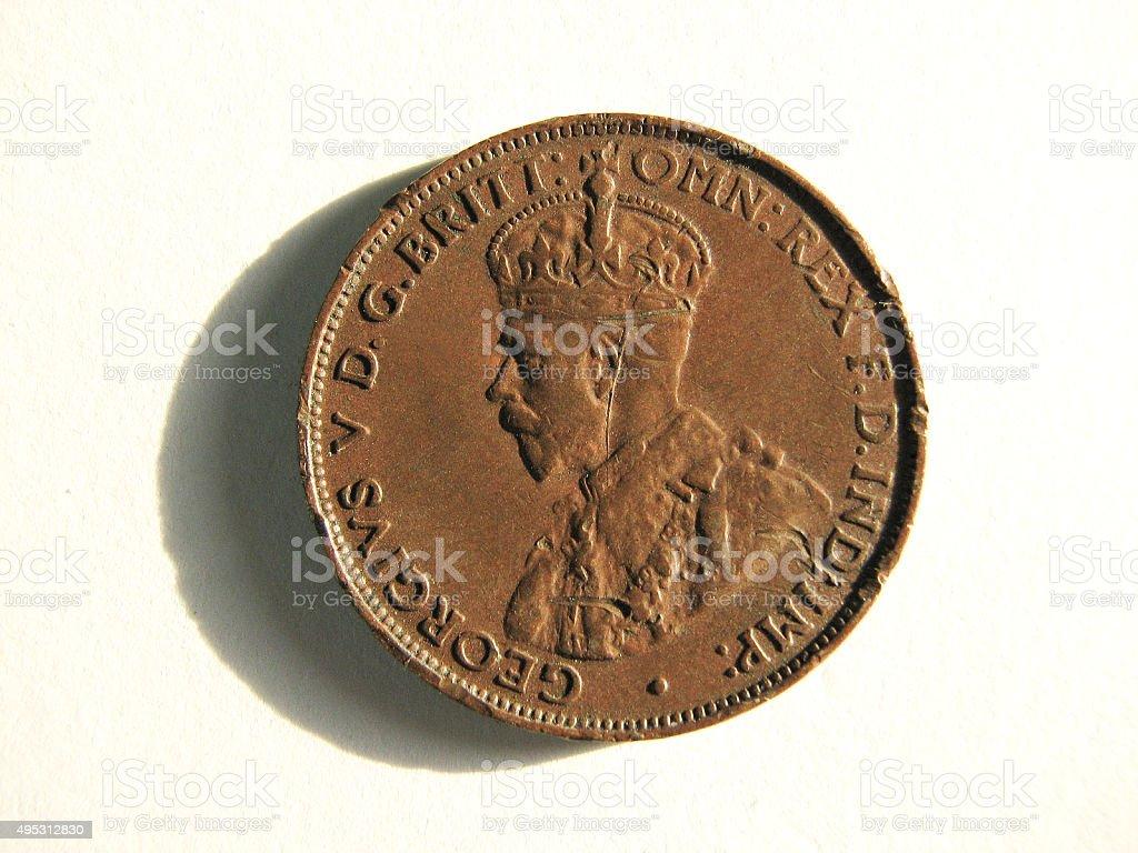 Old Coin - 1929 Australia - One Half Penny stock photo