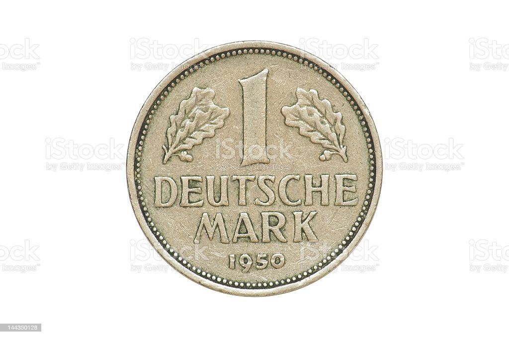 Old Coin dated 1950, One Deutschemark royalty-free stock photo