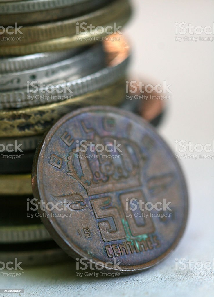 Old coin from  Belgia stock photo
