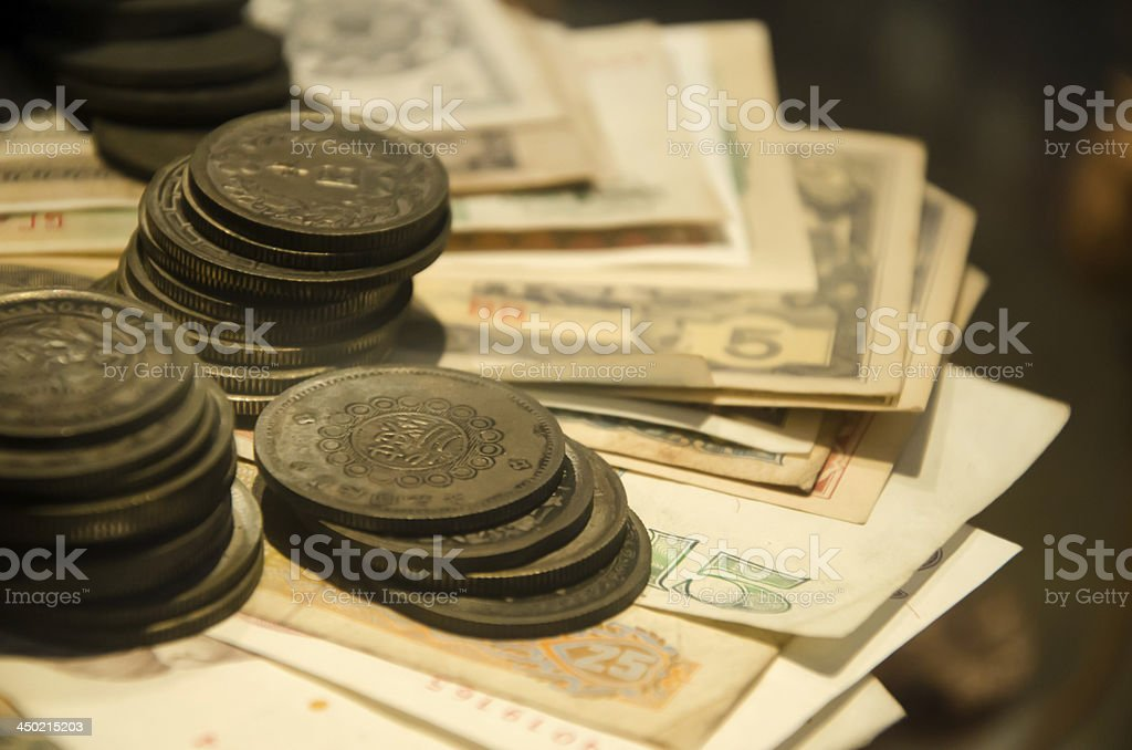 old coin money of chiness royalty-free stock photo