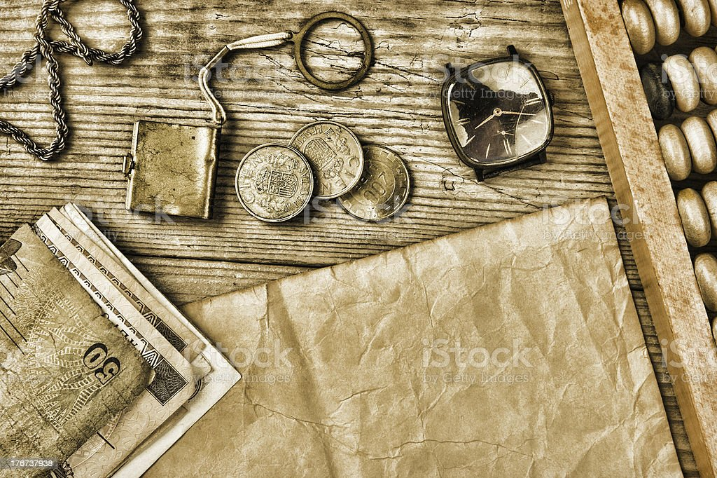 Old  coins and abacus stock photo