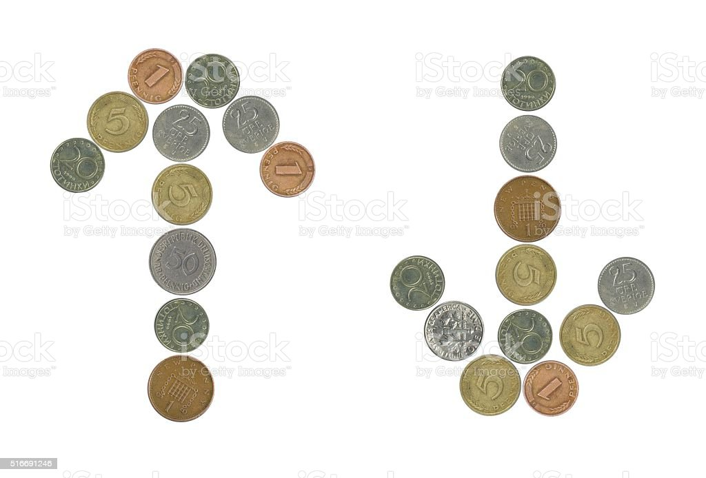 Old Coins Arrows,Up and Down stock photo