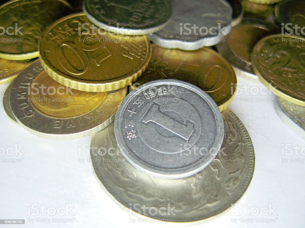 Old coins from different countries and different times stock photo