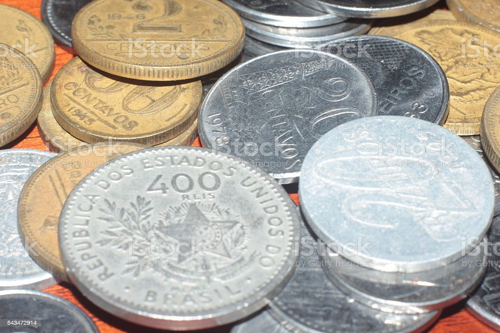 Old Coins of Brazil stock photo