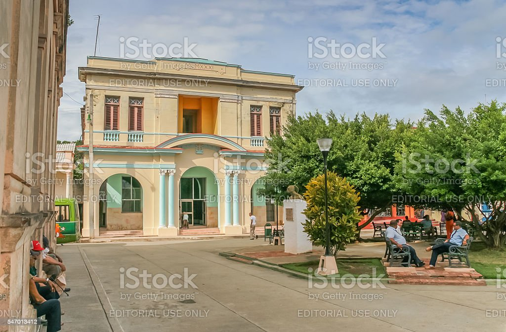 Old colonial building in the historical center of Baracoa stock photo