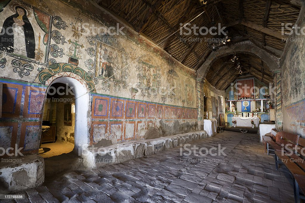Old Colonial Church Interior  at Parinacota in Chile stock photo