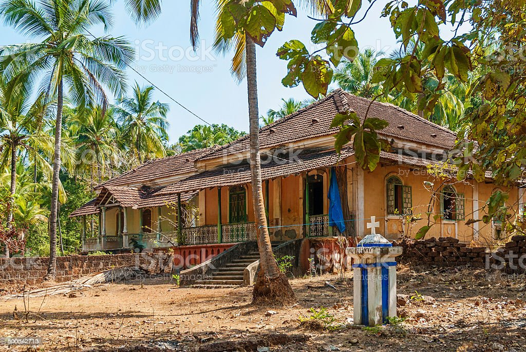 old colonial houses in goa india royalty-free stock photo