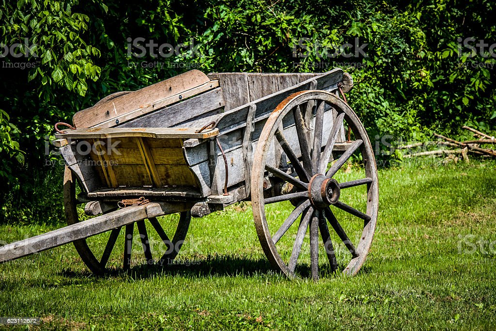 Old Colonial Wooden Cart stock photo