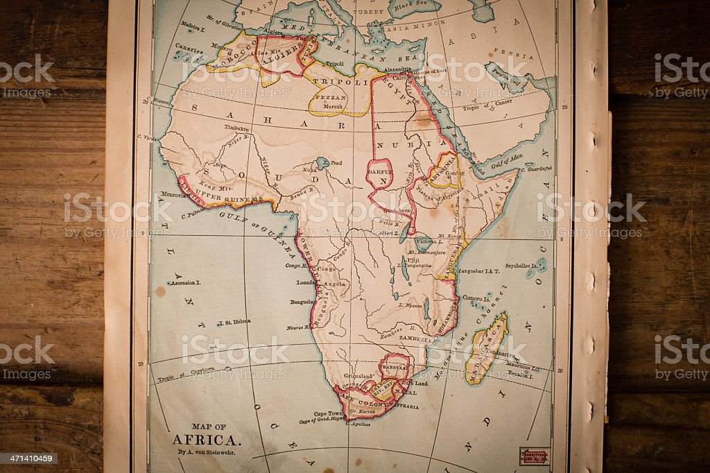Old, Color Map of Africa, From 1800's, on Wood Background stock photo