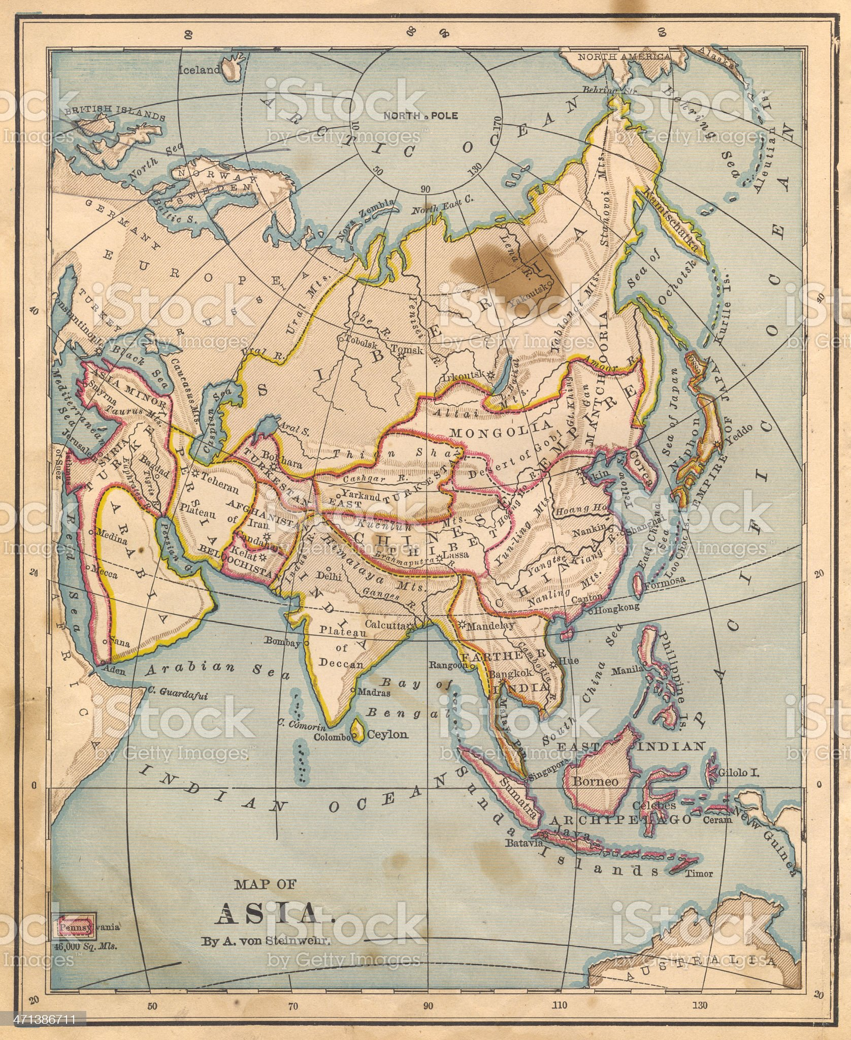 Old, Color Map of Asia, From 1800's royalty-free stock photo