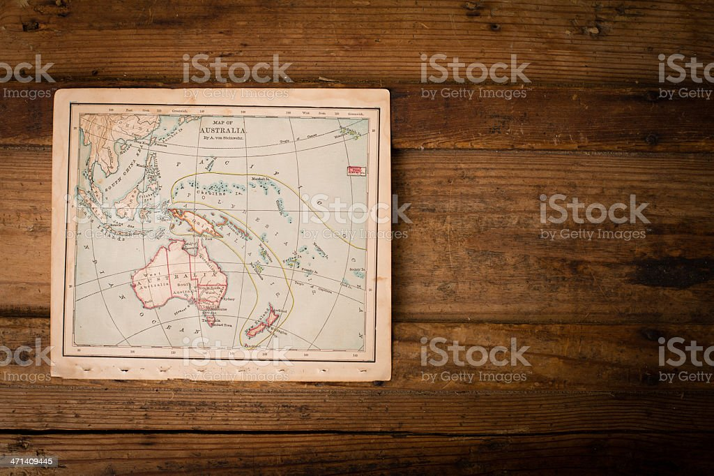 Old Color Map of Australia, From 1800's, With Copy Space stock photo