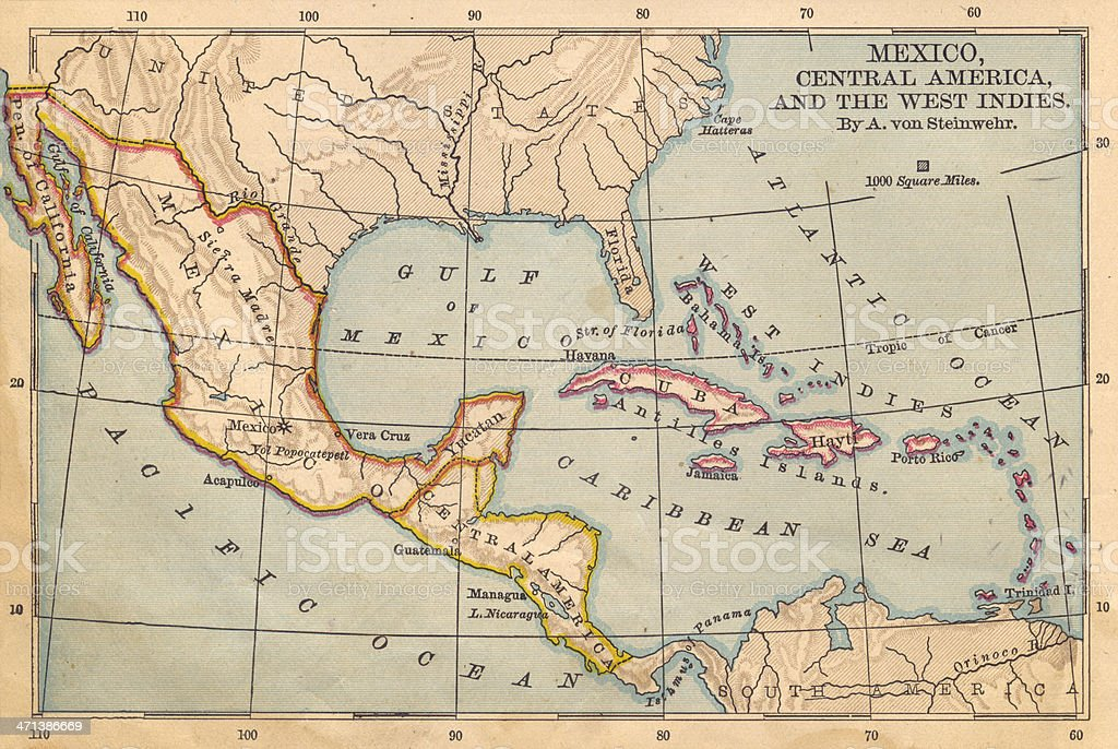 Old Color Map of Mexico and Central America, From 1800's royalty-free stock photo
