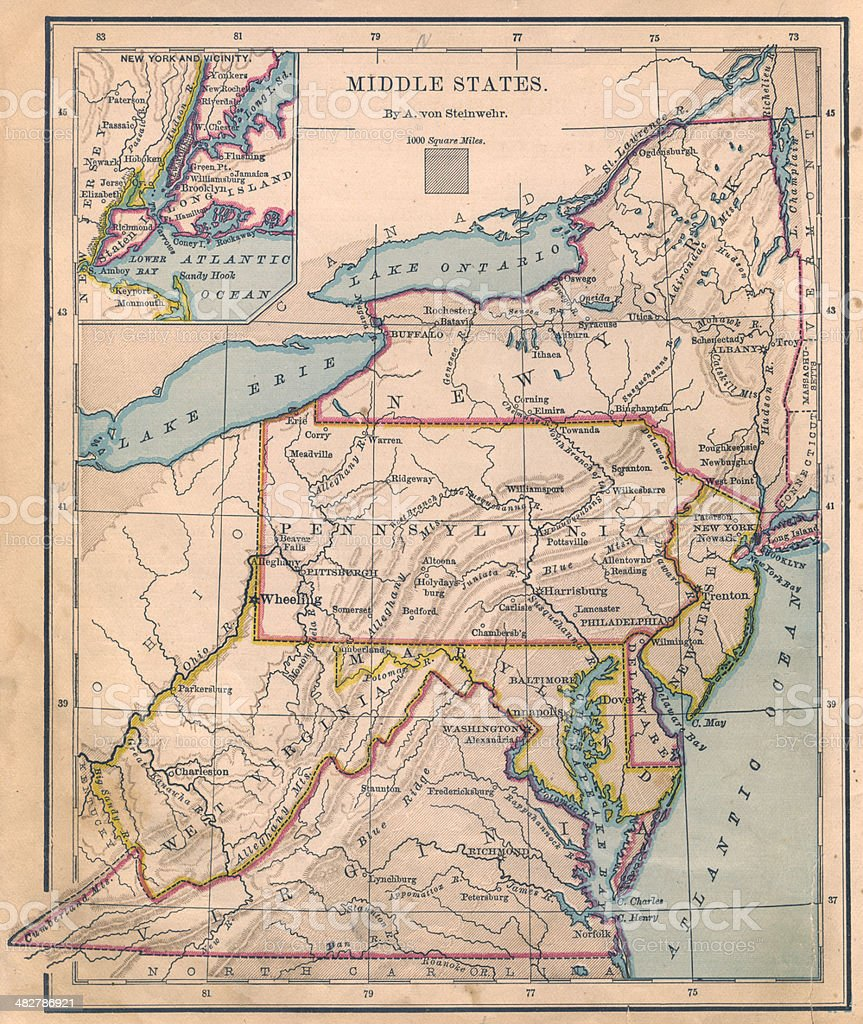 Old, Color Map of Middle (United) States From 1870 royalty-free stock photo