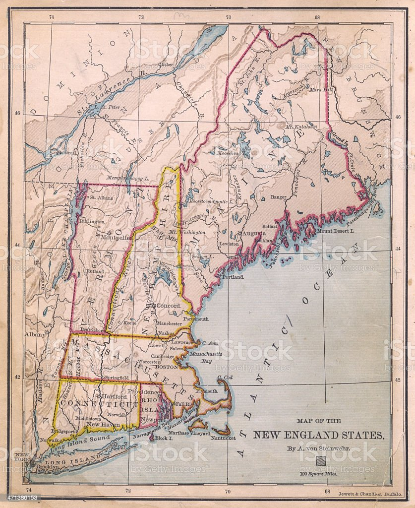 Old, Color Map of New England States From 1870 stock photo