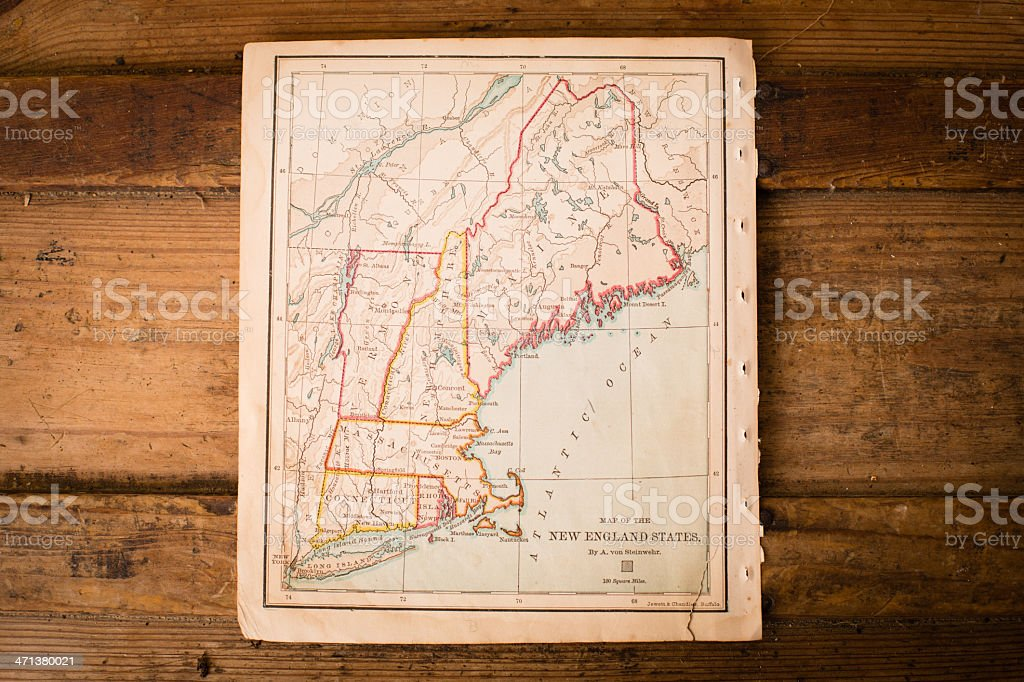 Old, Color Map of New England States, Sitting on Trunk stock photo