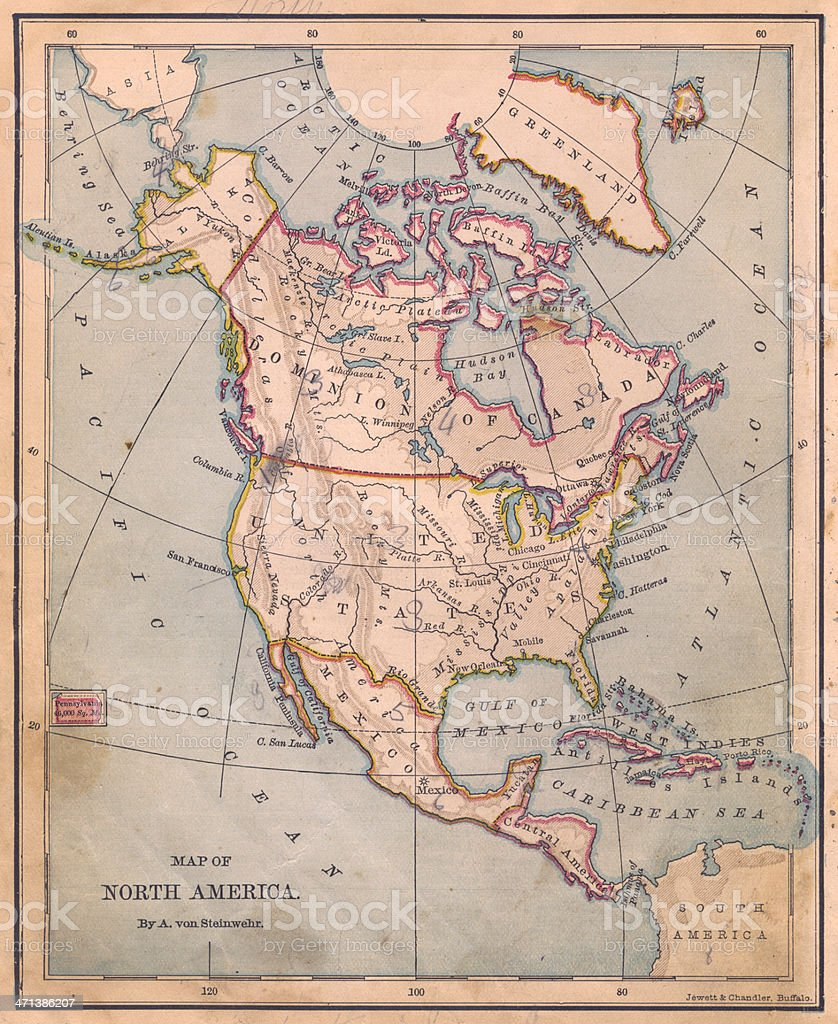 Old, Color Map of North America, From 1870 stock photo