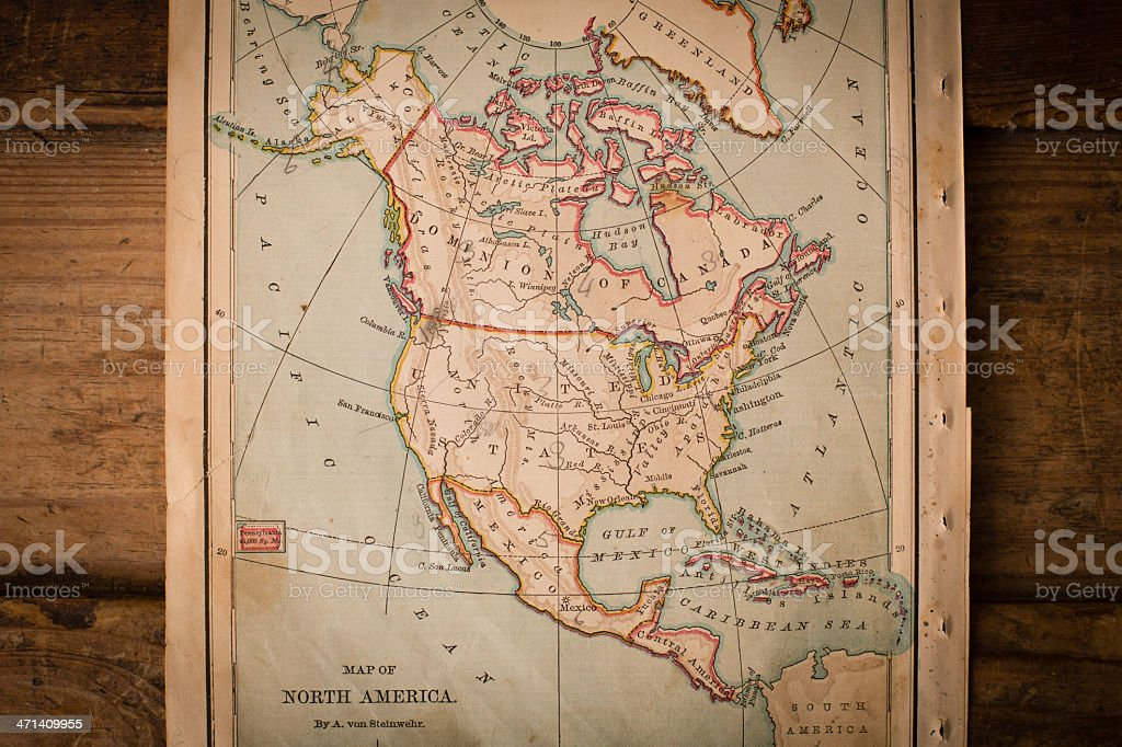 Old, Color Map of North America, From 1870, Wood Background stock photo