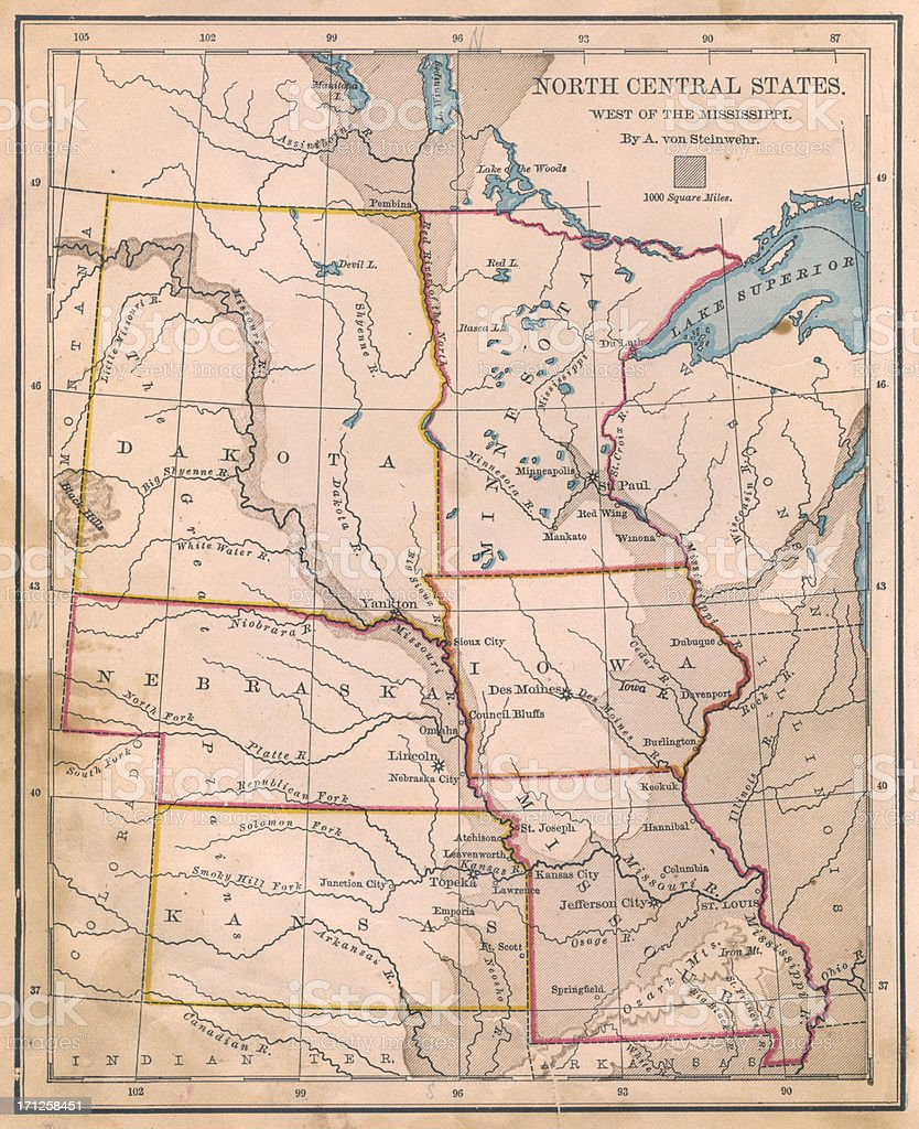 Old, Color Map of North Central (United) States, From 1800's stock photo