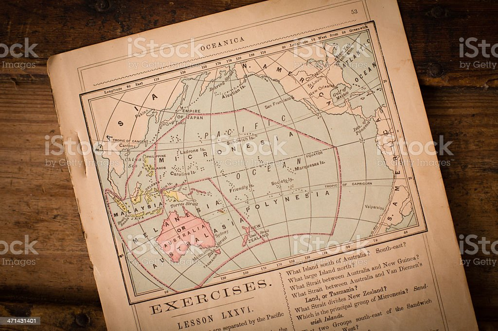 1867, Old Color Map of Oceanica, on Wood Background royalty-free stock photo
