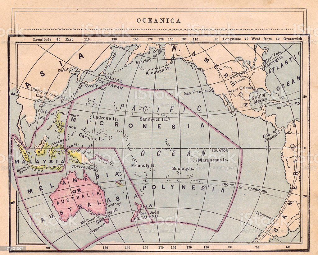 1867, Old Color Map of Oceanica royalty-free stock photo