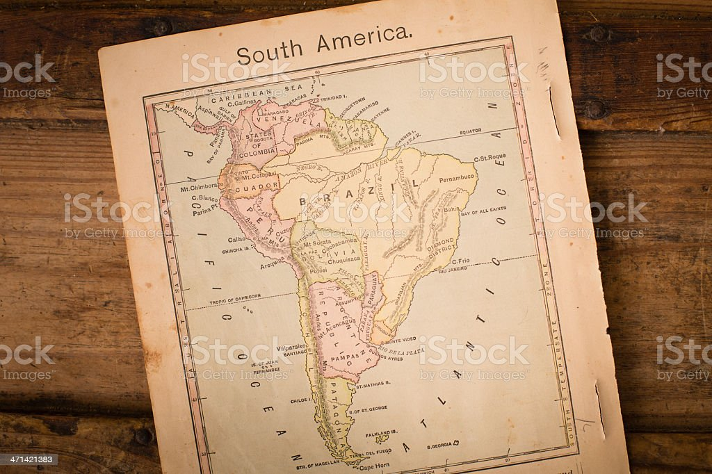 1867, Old Color Map of South America, on Wood Background royalty-free stock photo