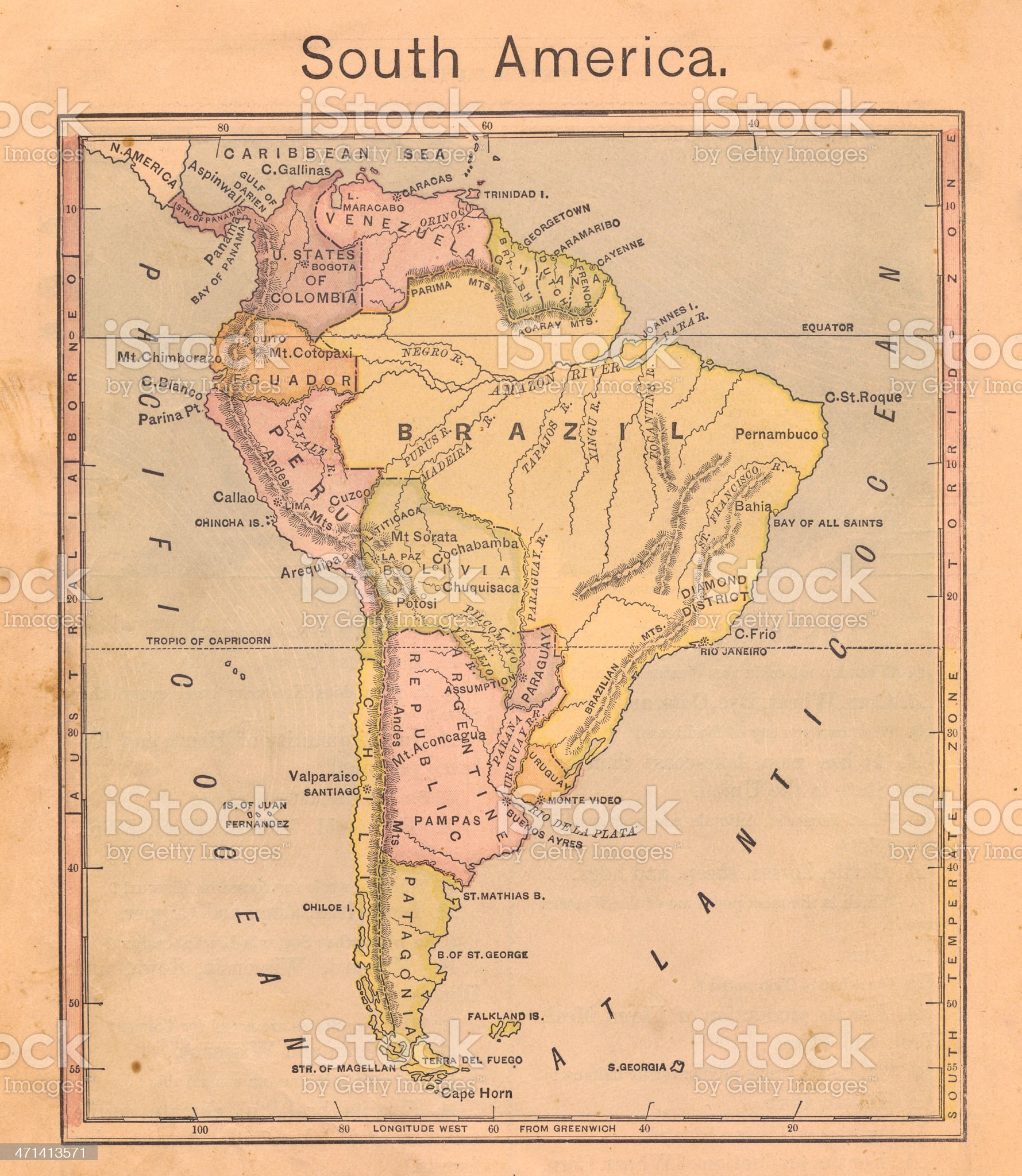 1867, Old Color Map of South America royalty-free stock photo