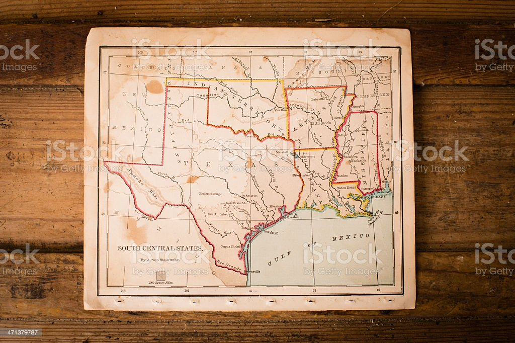 Old, Color Map of South Central States, Sitting on Trunk stock photo